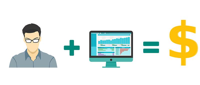 パソコンと売上のイメージ